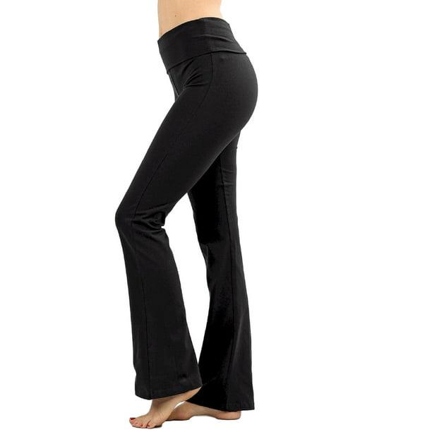 Female Black Trousers : Zenana Women Fold Over Waist Cotton Stretch Flare Leg Boot Cut Yoga Pants Leggings Black Medium