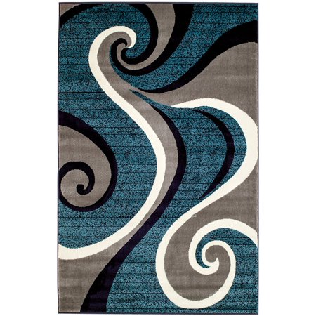 2x3 Blue Swirl Design Area Rug Summit Collection Rug