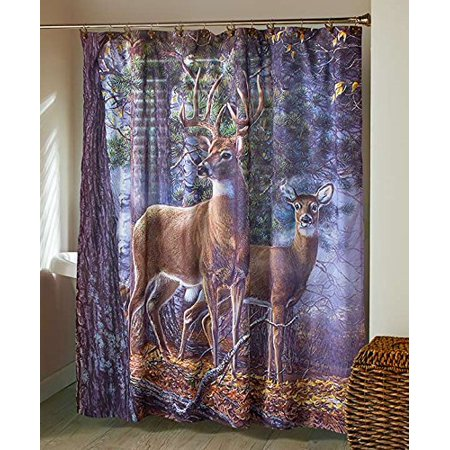 Snap Drape Snap (Cold Snap Deer Bathroom Shower Curtain, This Cold Snap Deer Bathroom Shower Curtain is a great option for the outdoor fanatic in your home. The wrinkle-resistant.., By The Lakeside Collection )