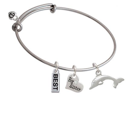 Antiqued Dolphin Big Sister Heart Expandable Bangle Bracelet for $<!---->