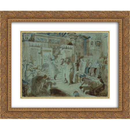 Alexander Ivanov 2X Matted 24X20 Gold Ornate Framed Art Print Pharaoh Asked Moses To Bring Jewish People Out Of Egypt