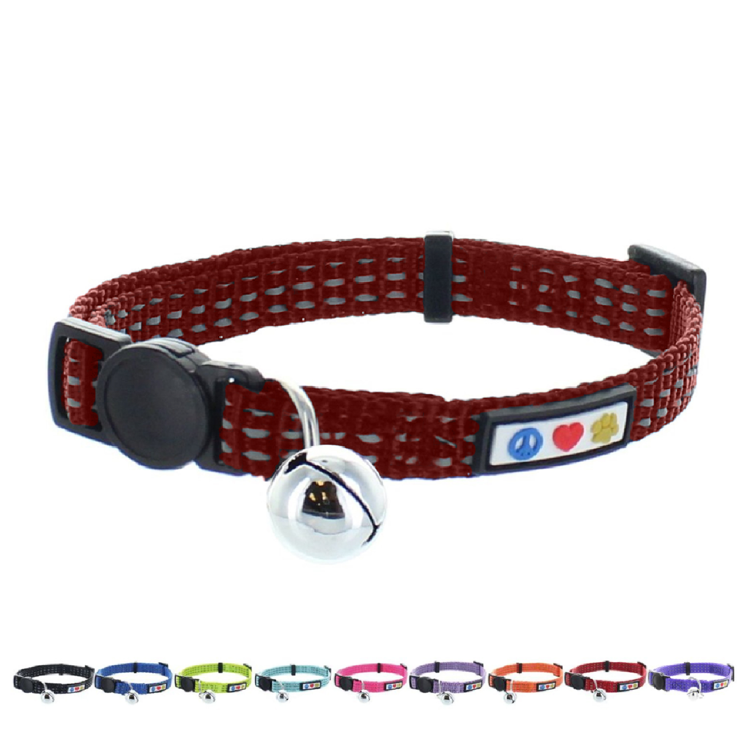 Pawtitas Reflective Cat Collar with Safety Buckle and Bell