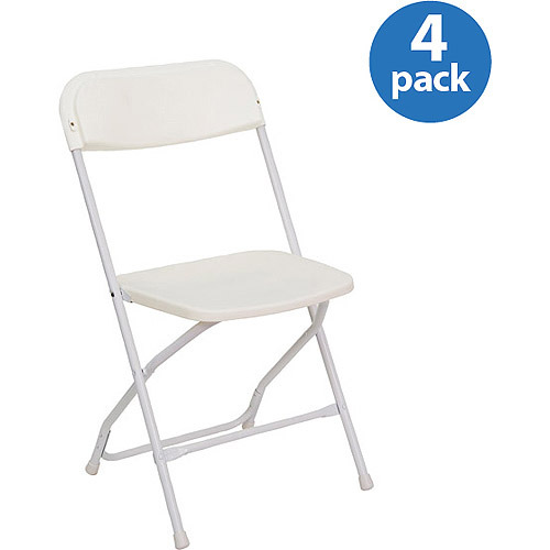 Heavy Duty White Plastic Folding Chairs, Set Of 4