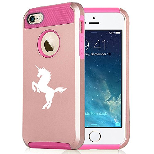 For Apple iPhone 7 Shockproof Impact Hard Soft Case Cover Unicorn (Rose Gold-Hot Pink)