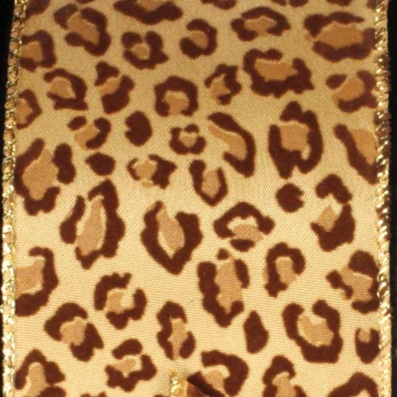 "Jaunty Jaguar Spots Tan and Brown Wired Wildlife Craft Ribbon 2.5"" x 20 Yards"