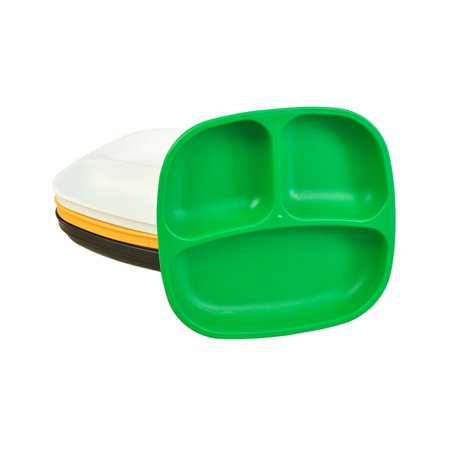 Re-Play Made in USA 4pk Divided Plates with Deep Sides for Easy Baby, Toddler, Child Feeding - Kelly Green, Sunny Yellow, Black, White (St. Patrick's Day+)
