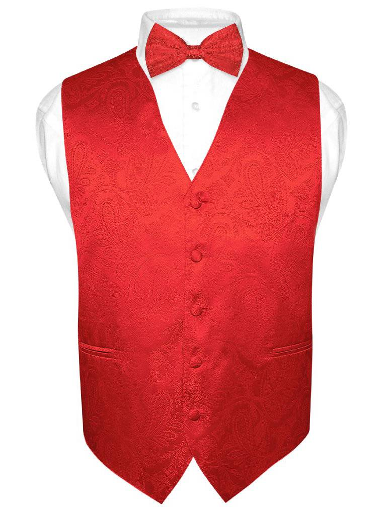 Men's Paisley Design Dress Vest & Bow Tie RED Color BOWTie Set for Suit Tuxedo
