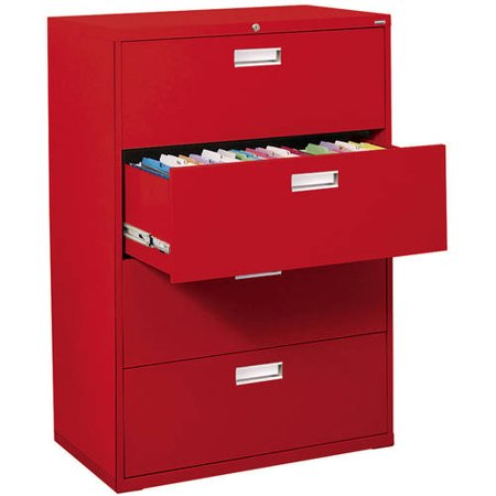 Sandusky Lee 600 Series 36″ 4-Drawer Lateral File, Red