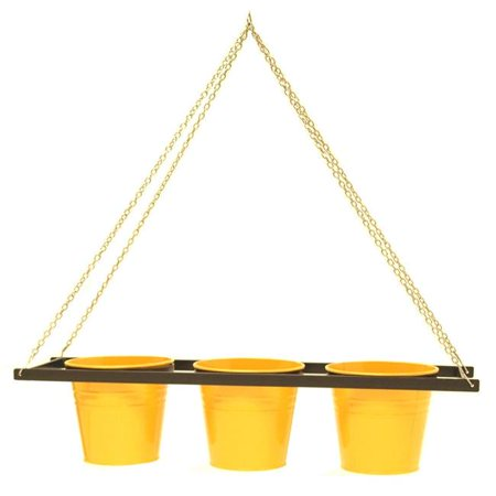 Houston International Trading 8536E SAFF Enameled Galvanized Triple Hanging Planter with Iron Holder, Saffron - image 1 de 1