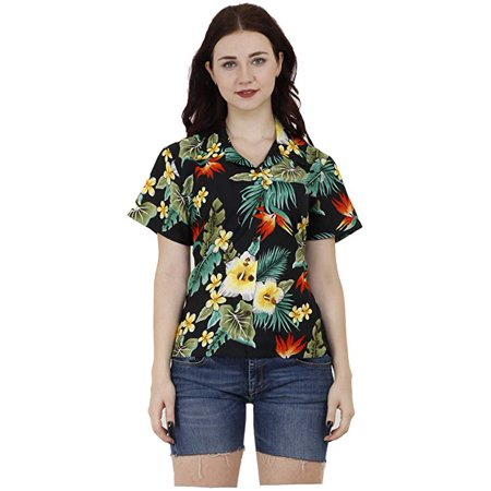 Hawaiian Shirts 46W Womens Flower Leaf Beach Aloha Top Blouse Black XS Womens Red Flower