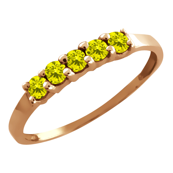0.25 Ct Round Canary Diamond Gold Plated Sterling Silver 5-Stone Ring