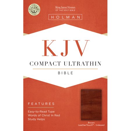 KJV Compact Ultrathin Reference Bible, Brown Cross LeatherTouch, Indexed