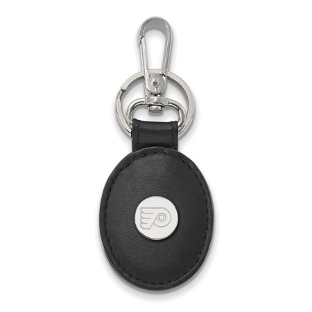 Solid 925 Sterling Silver NHL Philadelphia Flyers Black Leather Oval Key