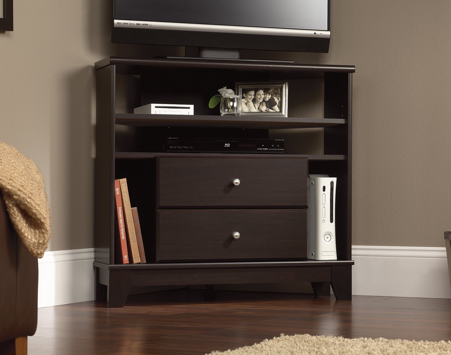 Sauder Furniture Camarin Collection Jamocha Wood Corner Console TV Stand  414707   Walmart.com