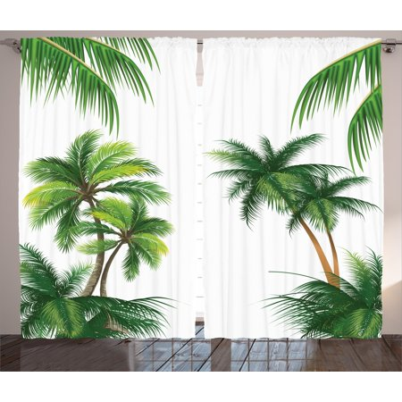 Tropical Curtains 2 Panels Set, Coconut Palm Tree Nature Paradise Plants Foliage Leaves Digital Illustration, Window Drapes for Living Room Bedroom, 108W X 63L Inches, Hunter Green, by Ambesonne (Tropical Foliage)
