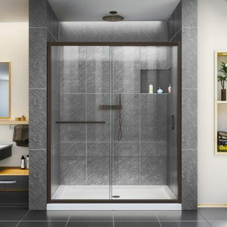 DreamLine Infinity-Z 50-54 in. W x 72 in. H Semi-Frameless Sliding Shower Door, Clear Glass in Oil Rubbed Bronze