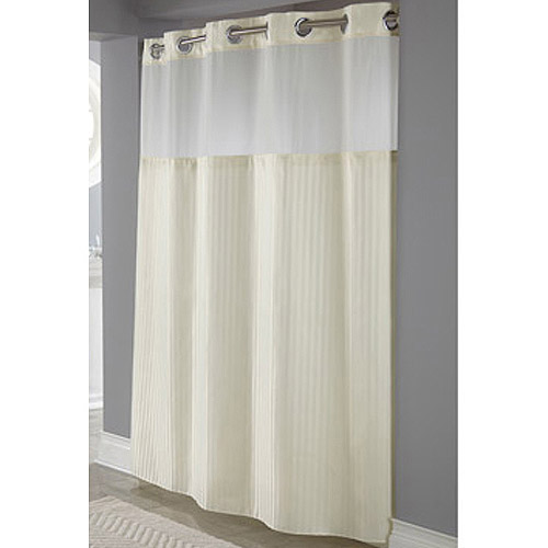 Hookless Beige Herringbone Polyester Shower Curtain