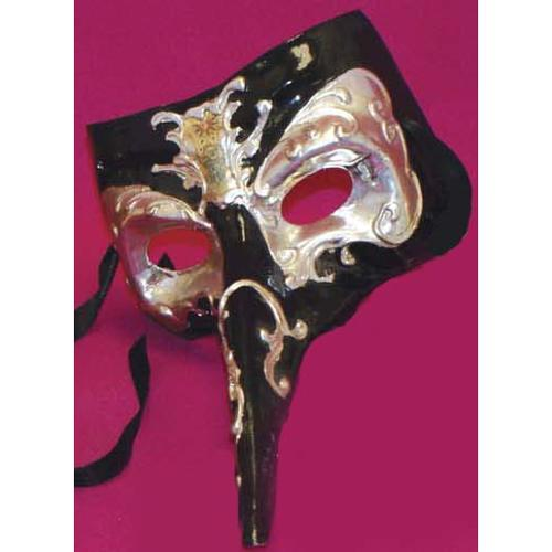 Midnight Casanova Venetian, Masquerade, Mardi Gras Mask Black/Silver