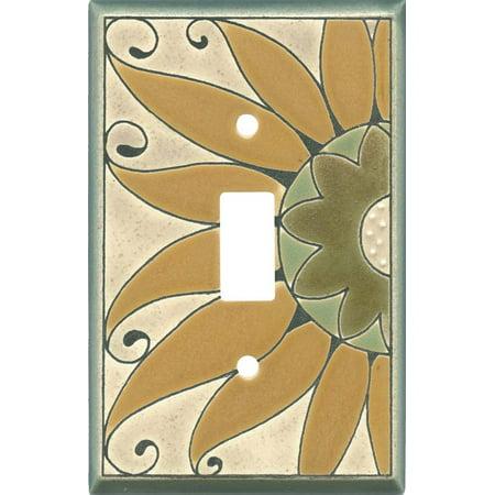 Golden Sunflower Ceramic - 1 Toggle Light Switch Plates Ceramic Light Switches