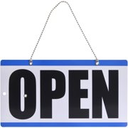 Pen + Gear Durable Plastic Open Sign with Clock for Shop , Blue & White, 11.5 in x 6 in, 1 Count