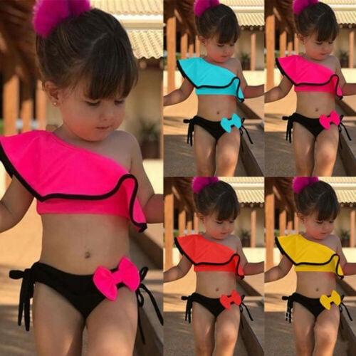 8-14Y 2PCS Summer Children Kids Baby Girl Ruffles Swimwear Swimsuit Bikini Sets