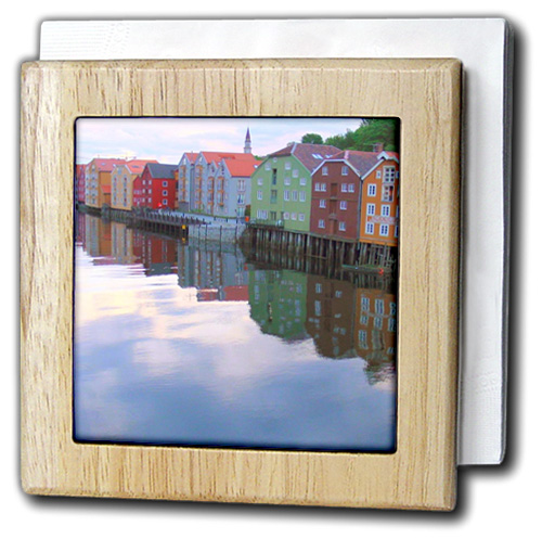 3dRose Trondheim Norway - colorful rainbow houses on river lake reflection Calm water Norwegian photography, Tile Napkin Holder, 6-inch