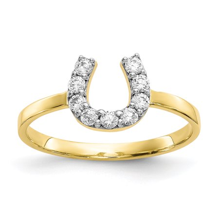 10k Yellow Gold Cubic Zirconia Cz Horse Shoe Band Ring Size 6.00 Good Luck Gifts For Women For Her 10k Good Luck Ring