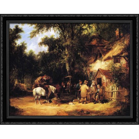 At the Bell Inn, Cadnam, New Forest 36x28 Large Black Ornate Wood Framed Canvas Art by William Shayer Black Large Country Bell