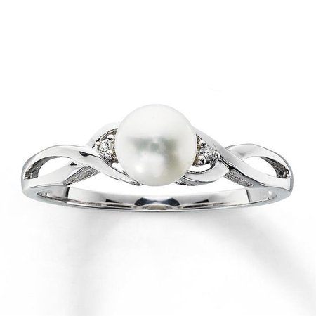 Harry Chad Enterprises 31524 0.10 CT Round Cut Pearl Diamond Gold Jewelry Engagement Ring ()