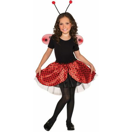 Child's Red and Black Lady Bug Costume Accessory Set Wings Headband Tutu