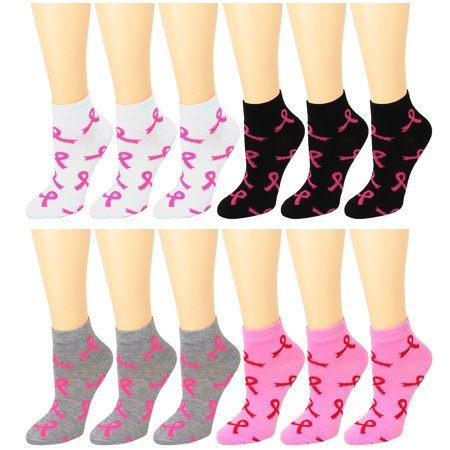 12 Pack Women's Ankle Socks Assorted Colors Size 9-11 Pink Ribbon Breast Cancer Awareness - Breast Cancer Socks Bulk