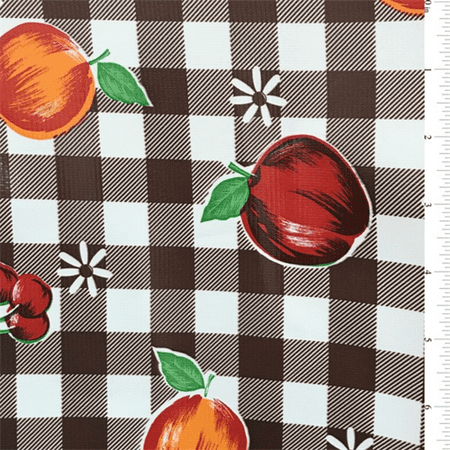 - Brown Check Oilcloth, Fabric By the Yard