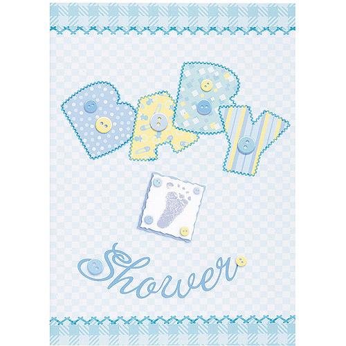 Blue Stitching Baby Shower Invitations, 8pk