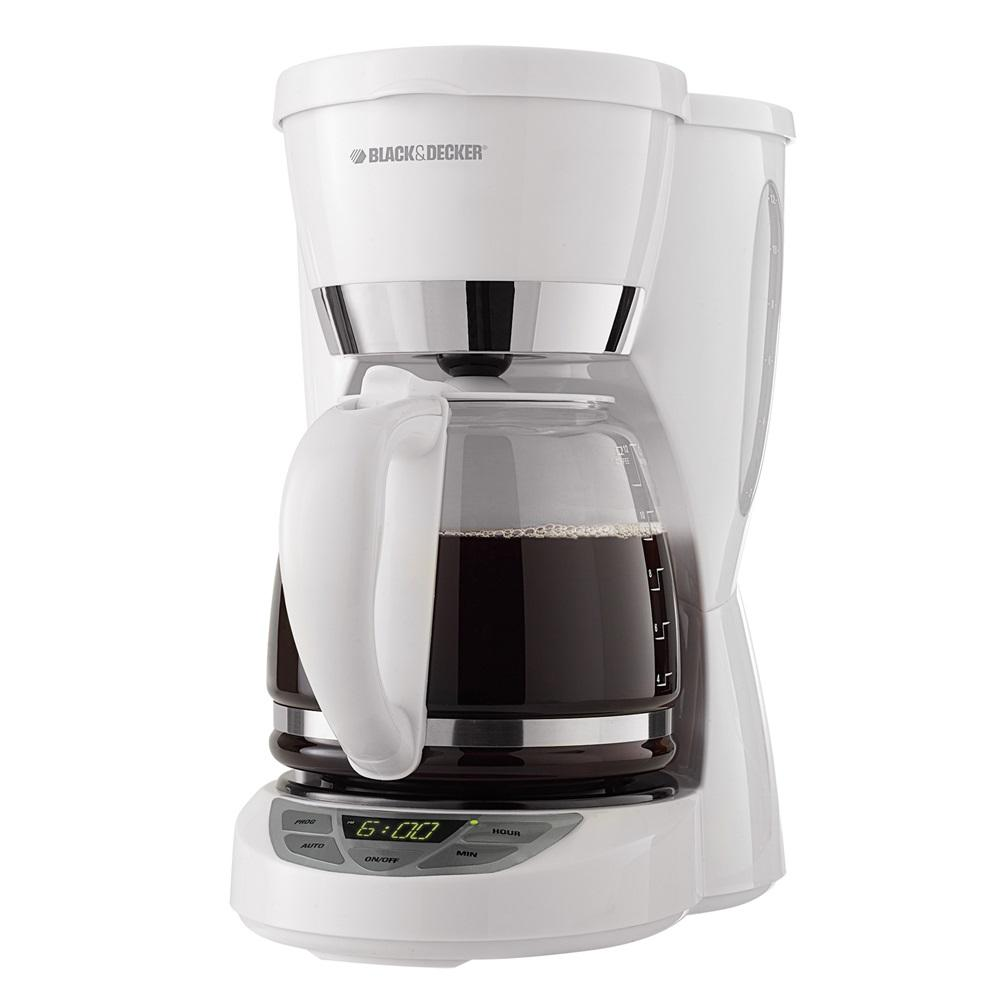 Black & Decker 12-Cup Programmable Coffeemaker with Carafe, White