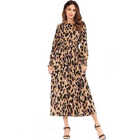 Women Dress Leopard Print Elasict Waist Smocked Ruching Cuffs Long Sleeve Maxi Gwon One-Piece