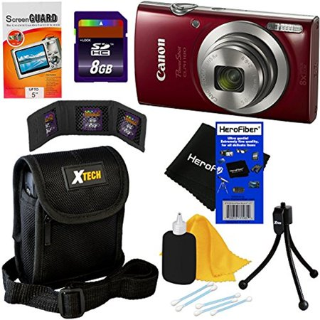 Red 8 Gb Kit (Canon PowerShot ELPH 180 Digital Camera (Red) with 20.0 MP, 8x Optical Zoom & HD Video + 7pc 8GB Accessory Kit w/ HeroFiber Gentle Cleaning Cloth )