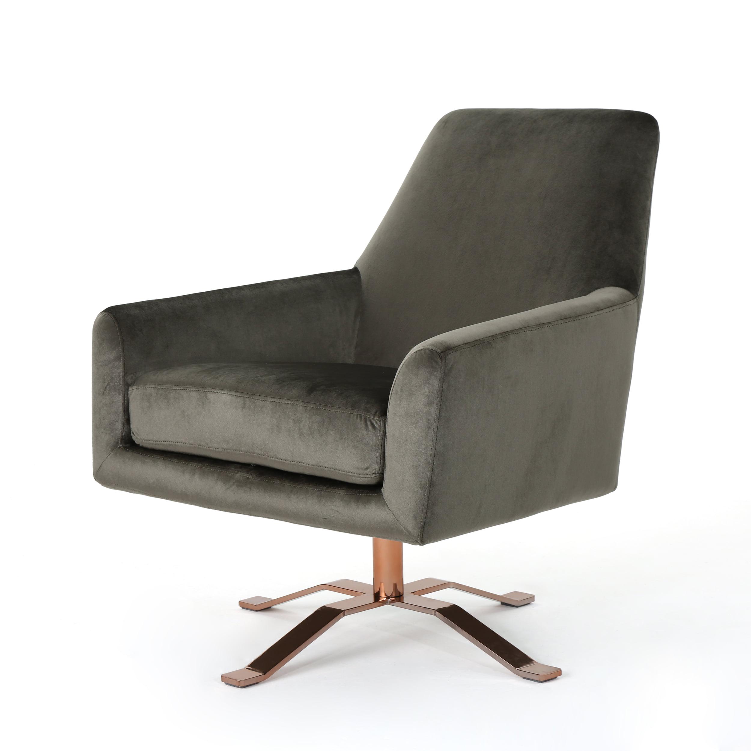 Alice Modern Velvet Swivel Club Chair with Steel Base ...
