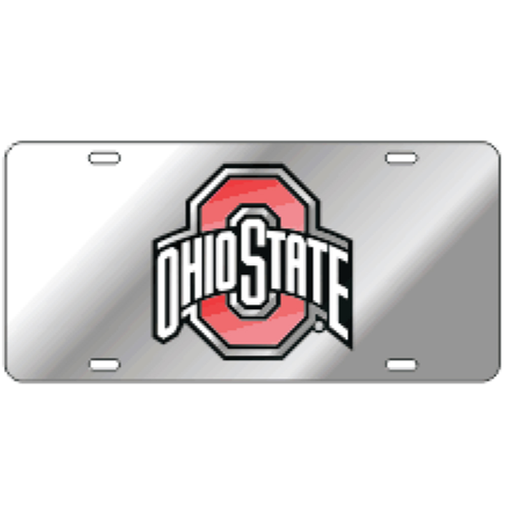 Ohio State Mirror Laser Cut License Plate
