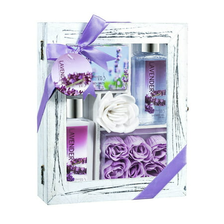Lavender Relaxing Aromatherapy Spa Bath Skincare Gift Set with Body Lotion, Shower Gel, bath Salts, Rose Soaps Displayed in Distress White Natural Wood Curio Perfect Mother's Day Gift ,Gift for Her