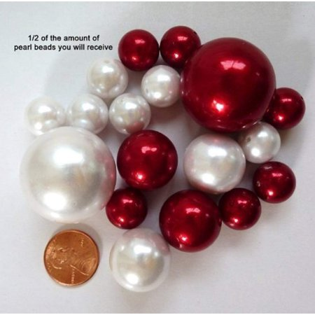 Easy Wedding Decorations (Easy Elegance Wedding Centerpiece and Decoration - White and Burgundy Pearl Beads -includes 12 gram packet JellyBeadZ Water bead)