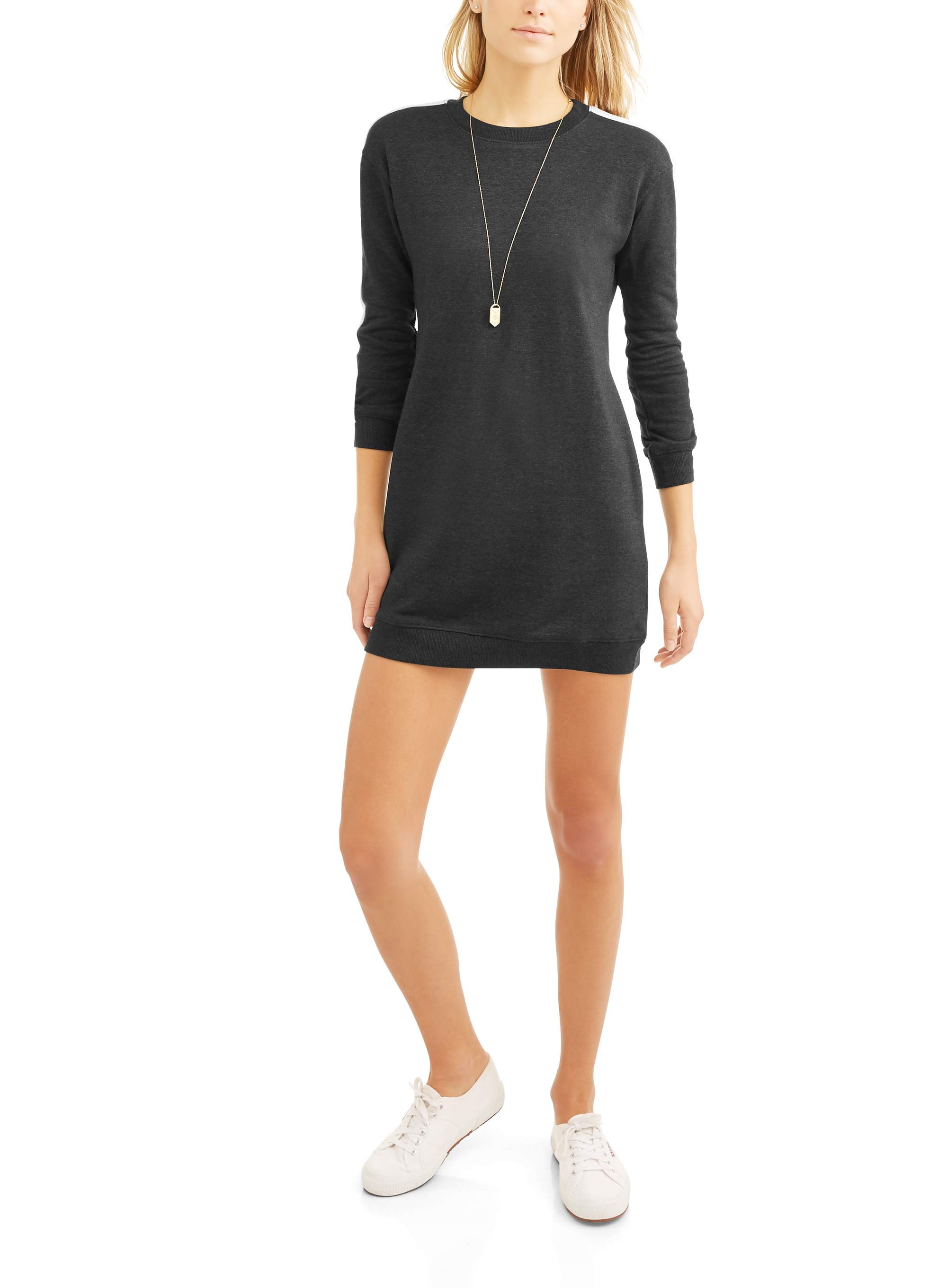 No Comment - Women s Athleisure Sweatshirt Dress with Athletic Side Stripe  - Walmart.com dd43f72d6536
