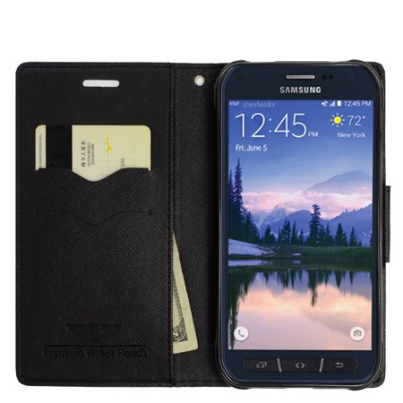 Insten Leather Wallet Case with Lanyard & Card Slot For Samsung Galaxy S6 Edge Plus - Black - image 1 de 3