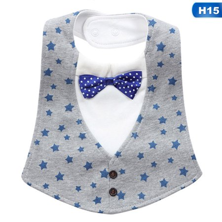 KABOER Usable Cotton Baby Bibs Boy Girl Burp Clothes Infant Toddler Soft Bowtie Formal Suit Pattern Bandana Saliva Triangle Towel Kids Absorbent Dribble Lunch Feeding (Best Bandana Bib Pattern)