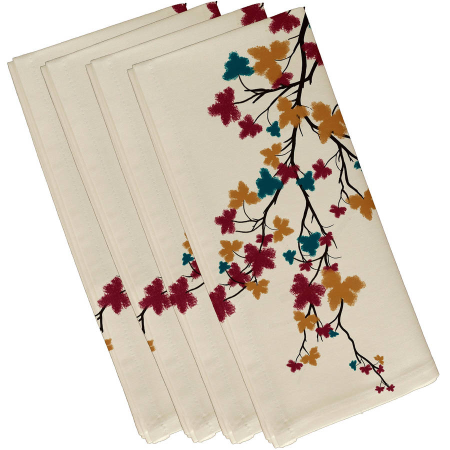 "Simply Daisy 19"" x 19"" Flower Power Floral Print Napkins, Set of 4"