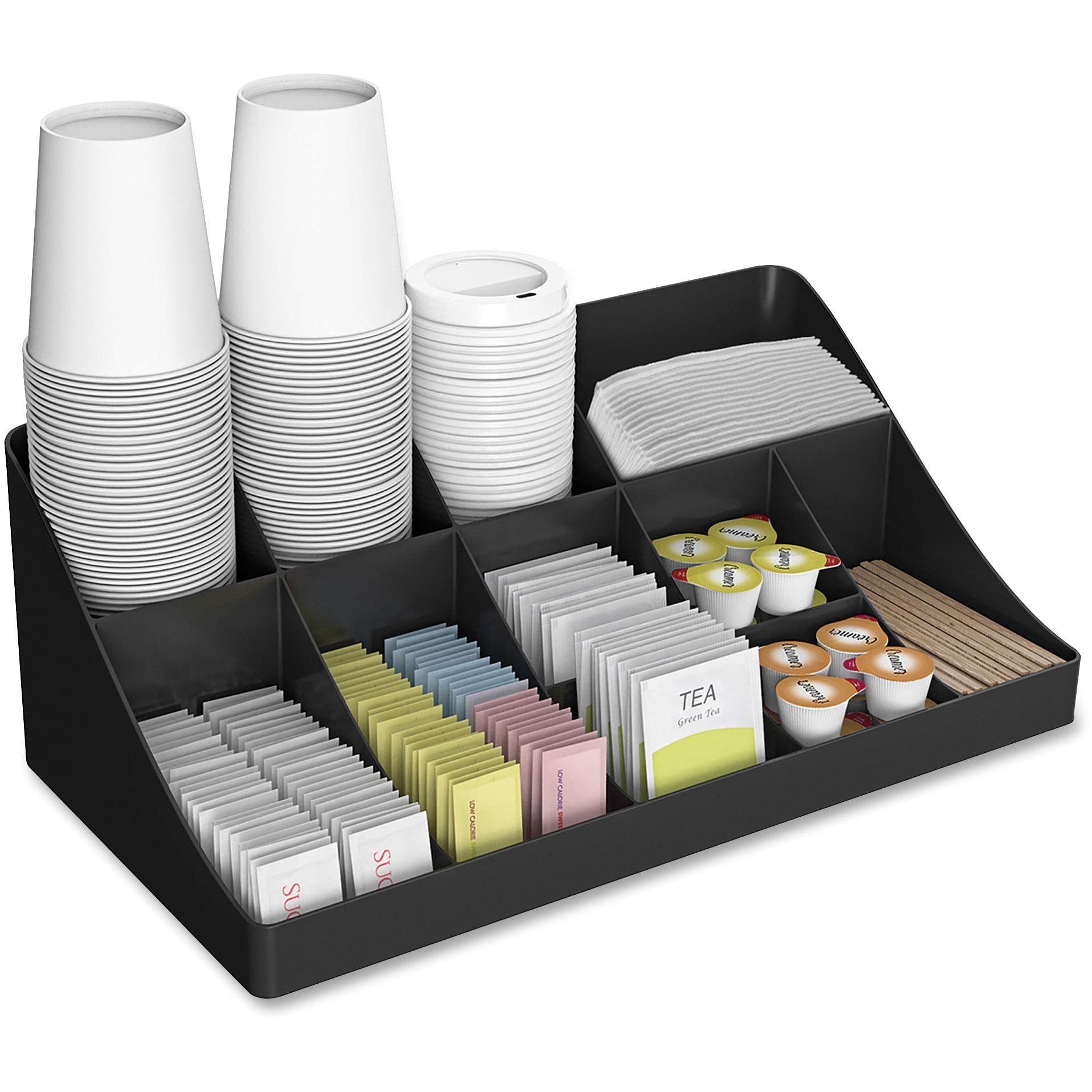 Mind Reader 11 Compartment 2 Tier Breakroom, Kitchen Coffee/ Tea Condiment Storage Organizer, Black