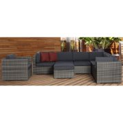 Marseille 8 pc Wicker Seating Set in Grey  with Grey Cushions