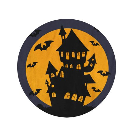 JSDART 60 inch Round Beach Towel Blanket Halloween Haunted House Silhouette Autumn Black Cartoon Celebration Creepy Travel Circle Circular Towels Mat Tapestry Beach Throw - image 2 of 2