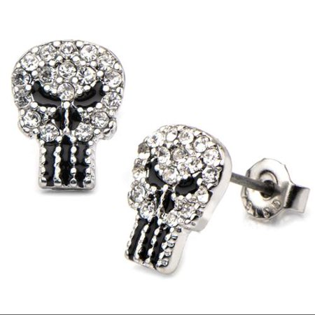 Punisher Rhinestone Logo Stud Earrings