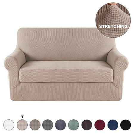 Form Fit Stretch Stylish Furniture Sofa Slipcovers Stay In Place Featuring Lightweight Twill Spandex Fabric No Strapless Slipcover Loveseat Khaki