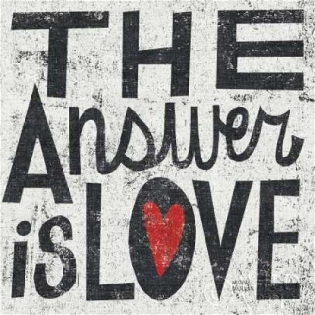 Wild Apple Graphics PDX11593SMALL The Answer is Love Grunge Square Poster Print by Michael Mullan, 12 x 12 - Small - image 1 of 1